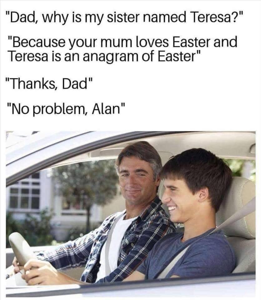Alan anagram meme Sunday Meme-a-thon