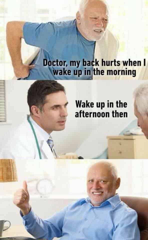 Doctor, my back hurts when I wake up in the morning
