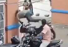 Motorcycle Crash Into Building