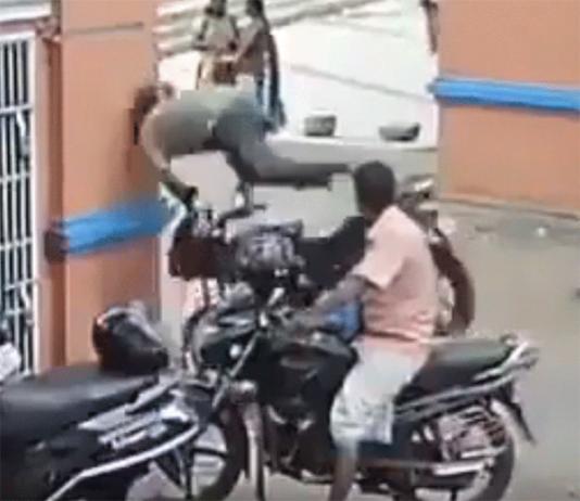 Motorcycle Crash Into Building