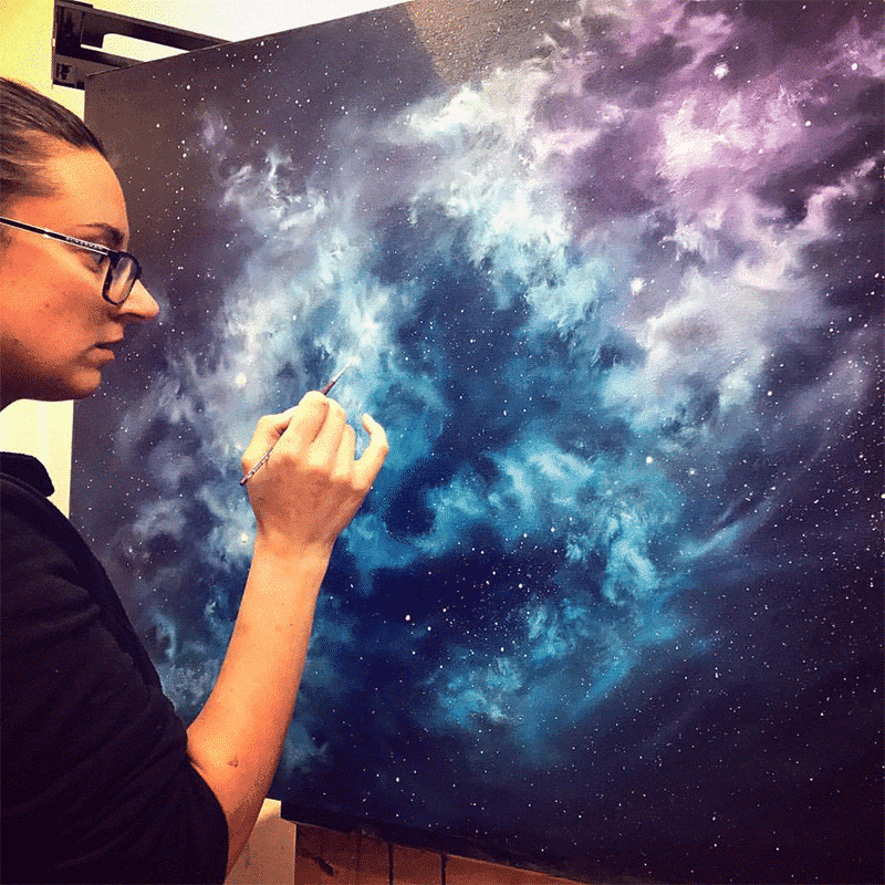 The Midnight Nebula Oil Painting by Cathrin Machin
