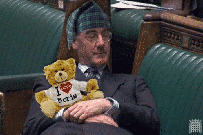 Jacob Rees Mogg sleeping in parliament